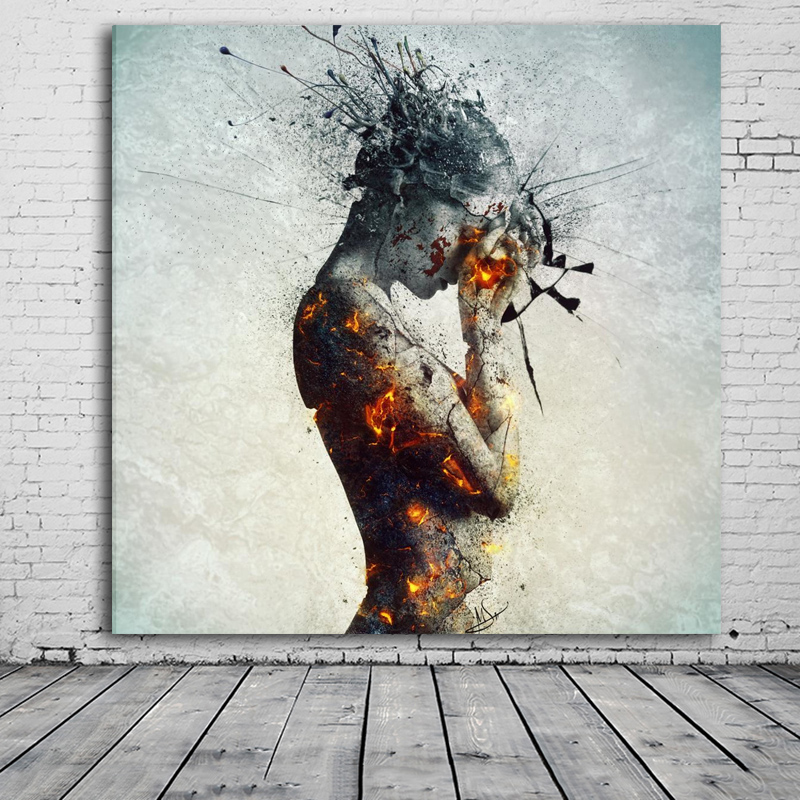 Contemporary Modern colorful nude art painting prints painting unique ideas  sexy woman body canvas oil painting wall decor-in Painting & Calligraphy  from ...