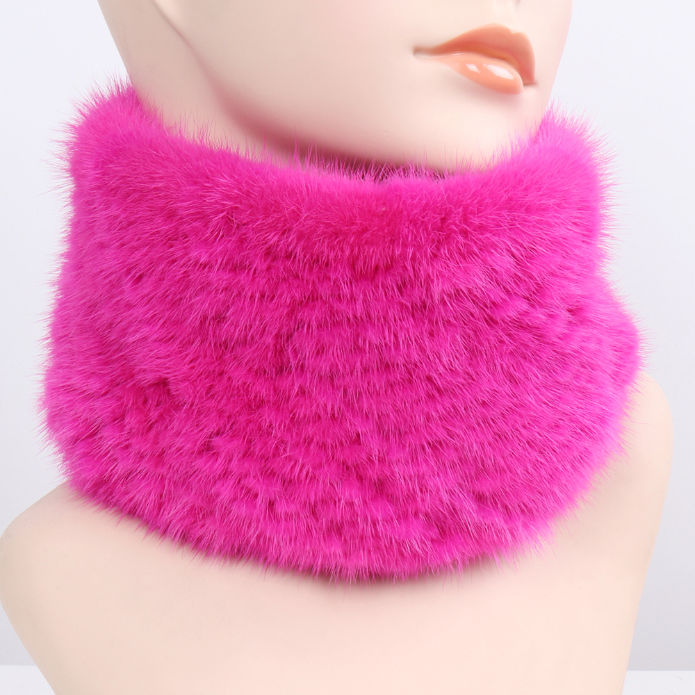 Image 4 - Women Winter Real Mink Fur Ring Scarves Good Elastic Knitted Genuine Mink Fur Scarf Thick Warm Lady Natural Fur Headband Shawl-in Women's Scarves from Apparel Accessories