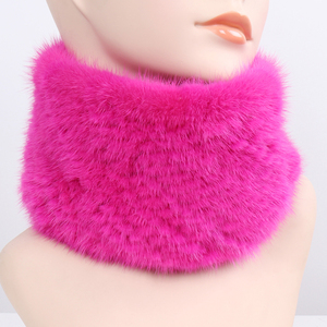Image 4 - Women Winter Real Mink Fur Ring Scarves Good Elastic Knitted Genuine Mink Fur Scarf Thick Warm Lady Natural Fur Headband Shawl