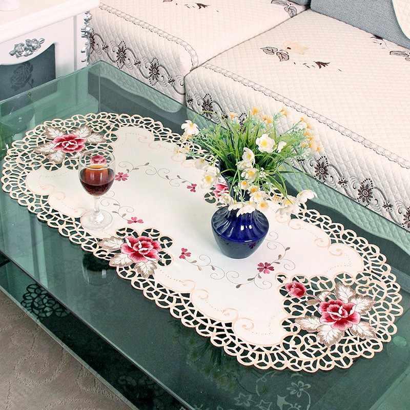 1 шт. 40X85 см элегантная полиэфирная скатерти с вышивкой вышитые цветочные Ришелье скатерть льняные скатерти Бегуны