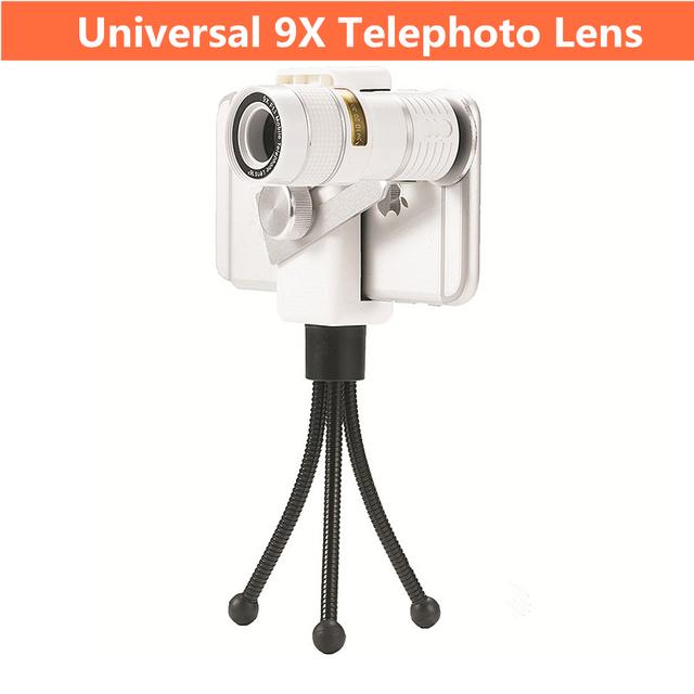Lente universal del teléfono móvil 9x teleobjetivo lente de teléfono para el iphone/samsung smartphone con trípode teleobjetivo zoom óptico