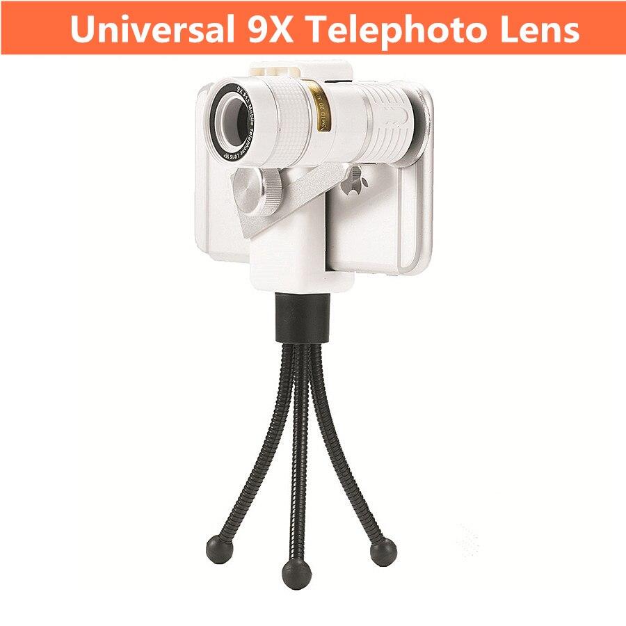 imágenes para Lente universal del teléfono móvil 9x teleobjetivo lente de teléfono para el iphone/samsung smartphone con trípode teleobjetivo zoom óptico
