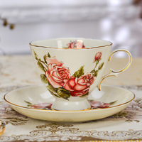 European style square shape coffee cups ceramic flower tea set afternoon tea cup and saucer set milk coffee