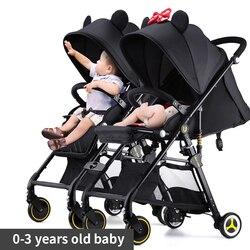 Быстрая доставка! Двойная детская коляска, ультра-портативный светильник, может сидеть и лежать, съемная Складная двойная коляска, может бы...