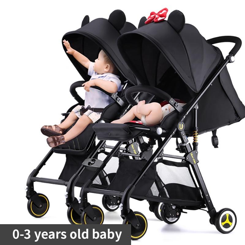 Trasporto veloce! A due letti per bambini passeggini ultra luce portatile in grado di sedersi e sdraiarsi pieghevole staccabile doppia carrozzina può essere sul piano ombrelli