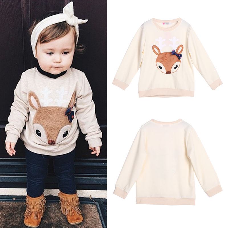 2017 Sping Autumn Boys Girls Sweatshirts Toddler Kids Clothes Cute Deer Pattern Infant Casual Pullover Sweatshirts Hoodies Tops