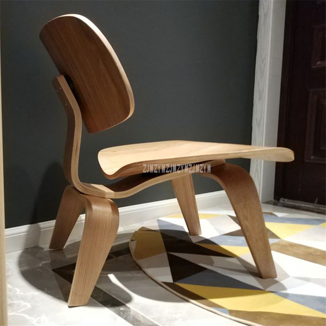 Single Living Room Lounge Chair With Wood 4 Legs Natural Full Wood Home Furniture Wooden Small Simple Low Chair With Backrest 3