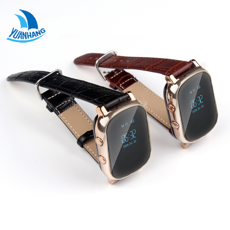 YH T58 Plus Smart GPS WIFI Tracker Locator Anti-Lost Watch Kid Elder Child SOS Remote Monitor Genuine Leather Strap Smartwatch