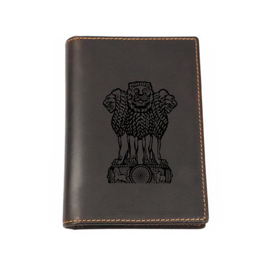 Inde passeport couvre Vintage carte portefeuille en cuir véritable Multi fonctionnel porte cartes nom personnalisé passeport voyage portefeuilles-in Porte-cartes d'identité from Baggages et sacs    1