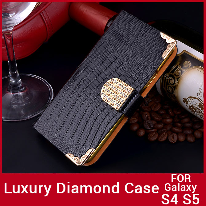 Luxury Diamond Bling Wallet Samsung Galaxy S5 Case Different Size S4 Phone Cover Crocodile GalaxyS5 - Atolla Global Flagship Store store