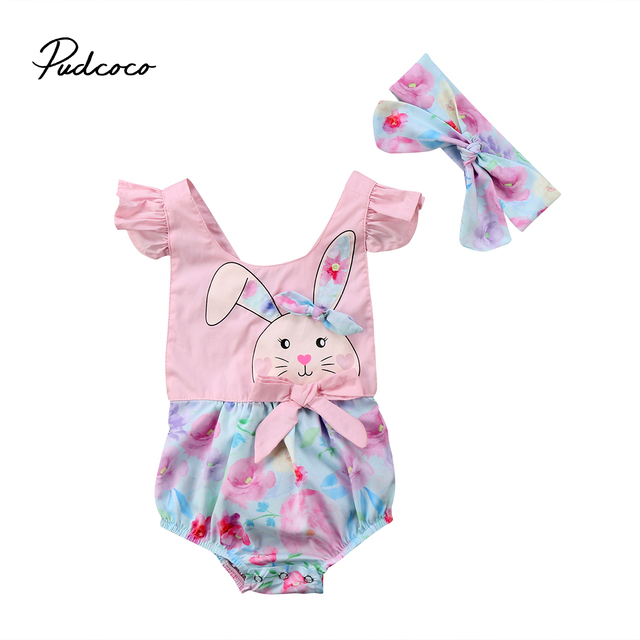 2018 New Easter Floral Romper Newborn Baby Girl Bunny Romper Flying Sleeve  Jumpsuit Outfits Summer Flower Clothes 0-24M 6381f9535f6d