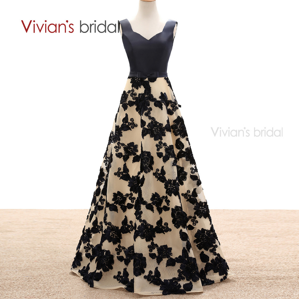 Vivian s bridal a line evening dresses satin flower lace long formal evening gowns party dresses
