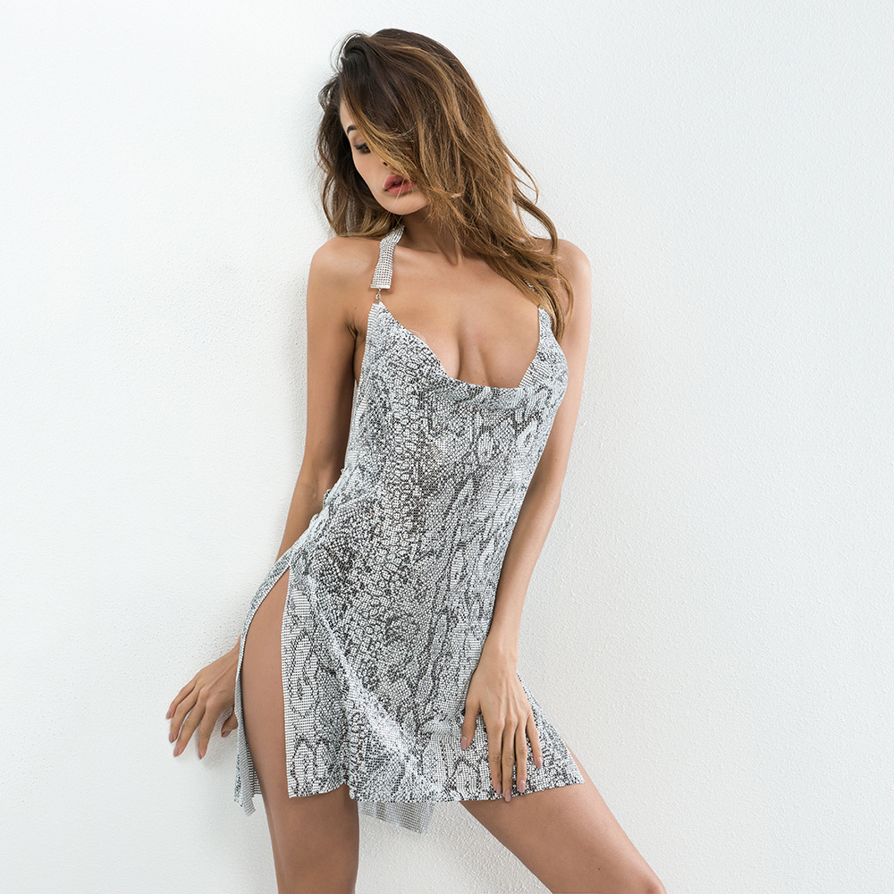 Leopard New <font><b>Style</b></font> Bandage Mini Sleeveless Diamonds <font><b>Halter</b></font> <font><b>Dress</b></font> <font><b>Sexy</b></font> Women Night Club Backless Body con <font><b>Halter</b></font> <font><b>Dresses</b></font> Wholesale image
