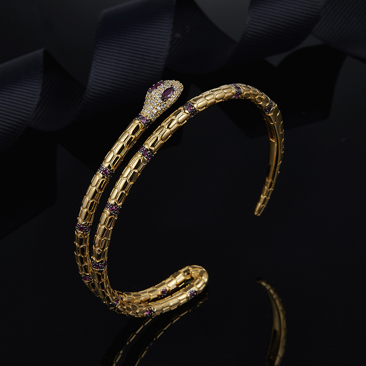ZOZIRI 925 Sterling Silver Gold Color snake bracelet double layer red gem cuff Bangle women zircon Stone luxury monaco bracelet цена