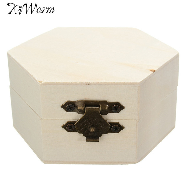 Kiwarm Vintage Wooden Box Handcrafted Jewelry Organizer Storage