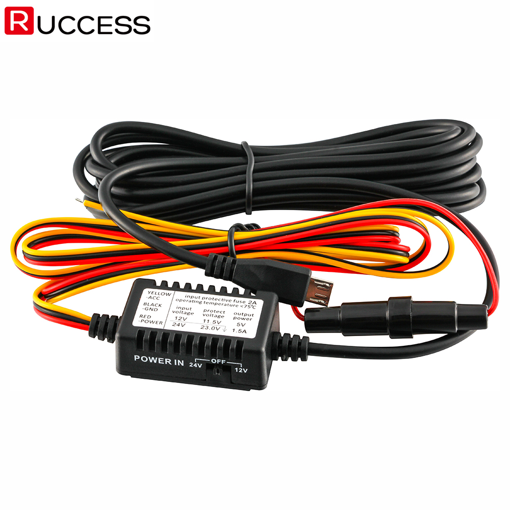Universal Car Dash Camera Vehicle DVR Camera Recorder Hard Wire Kit w// Mini USB