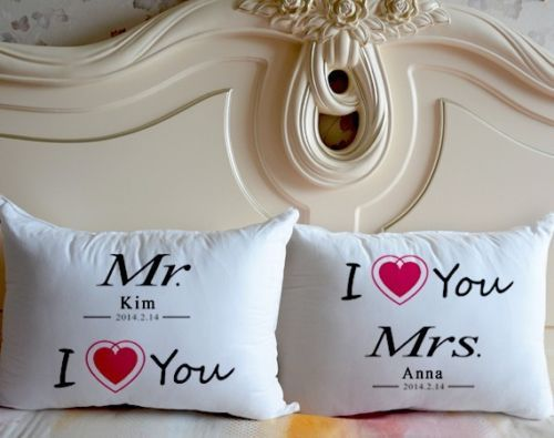 Personalized Mr and Mrs Pillowcase Set  I Love You Two Sides