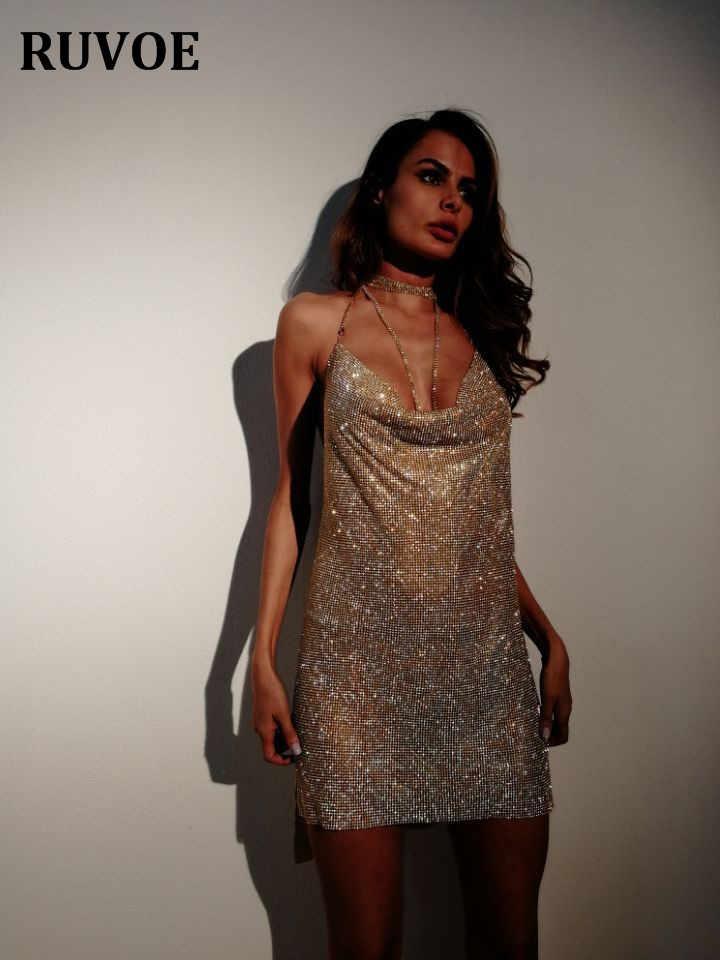 385456f6d2 ... New Arrival Halter Crystal Sleeveless Split Birthday Prty Mini Dress  Women Sexy Backless Deep V Neck ...