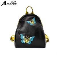 Amarte Women Backpack Embroidery Fresh Style Backpacks For Teenage Girls School Bags 2017 New Floral Women Bag Fashion