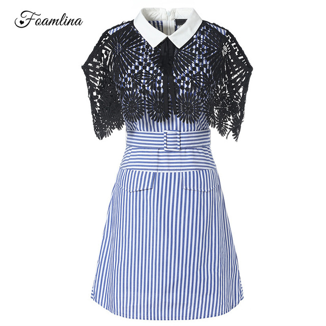 Foamlina Brand Runway Dress Fashion Striped Pattern Summer Dress