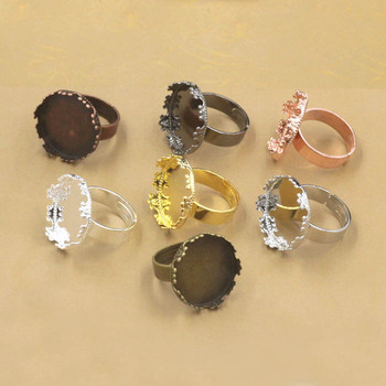 Blank Ring Settings with Round Crown Bezel Cameo Resin Cabochons Bases Rings DIY Jewelry Findings Multi-color Plated