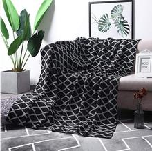 100% Cotton Black Cable Knit Throw Blanket for Couch Bed Sofa Chair, Black White Stripe Reversible Decorative Knitted Blank native american inspired wave stripe knitted throw blanket