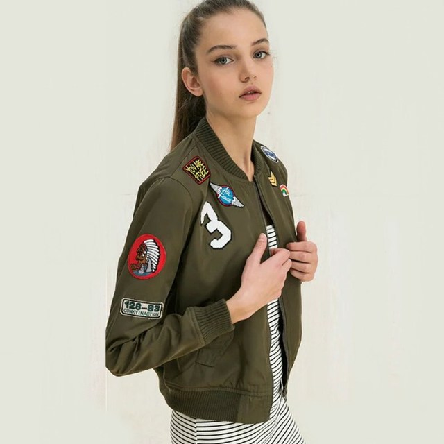 2016 Women Embroidered Bomber Jacket Letter Patch Army Green Zipper Short Thin Coat Spring Autumn Basic Jackets Casual Outerwear