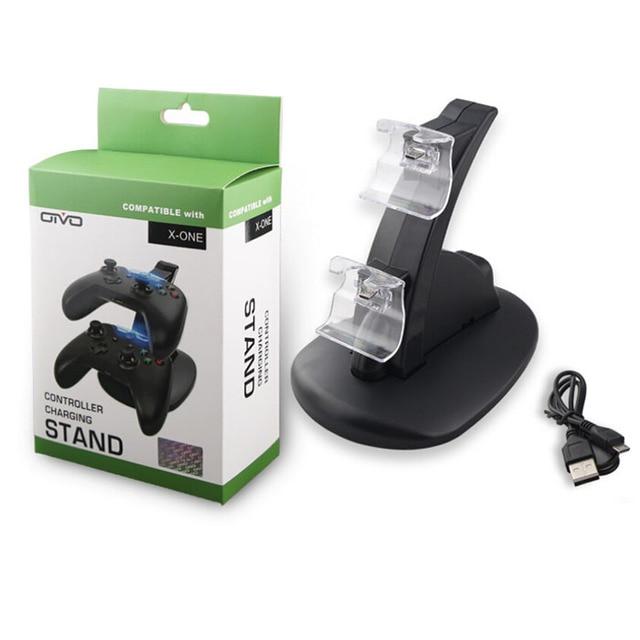 ABS Материал Двойной Зарядки Док-Станция Для XBOX ONE GamePad Игры Ручка USB Интерфейс Fast Safe Chager