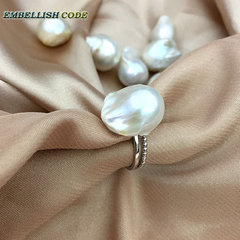Adjustable Size Resize Baroque Pearl 925 Silver Ring Simple Modern White Lustrous Tissue Nucleated Fire Ball Shape For Women