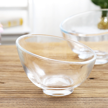 Pack of 2PCS Salad Mixing Bowl Clear Slant Cut Bowl Strong Glass Servers Prep and Mixing