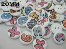 WB0108 20MM Buttons for kids 100pcs mixed Number Printed wood buttons randomly White button