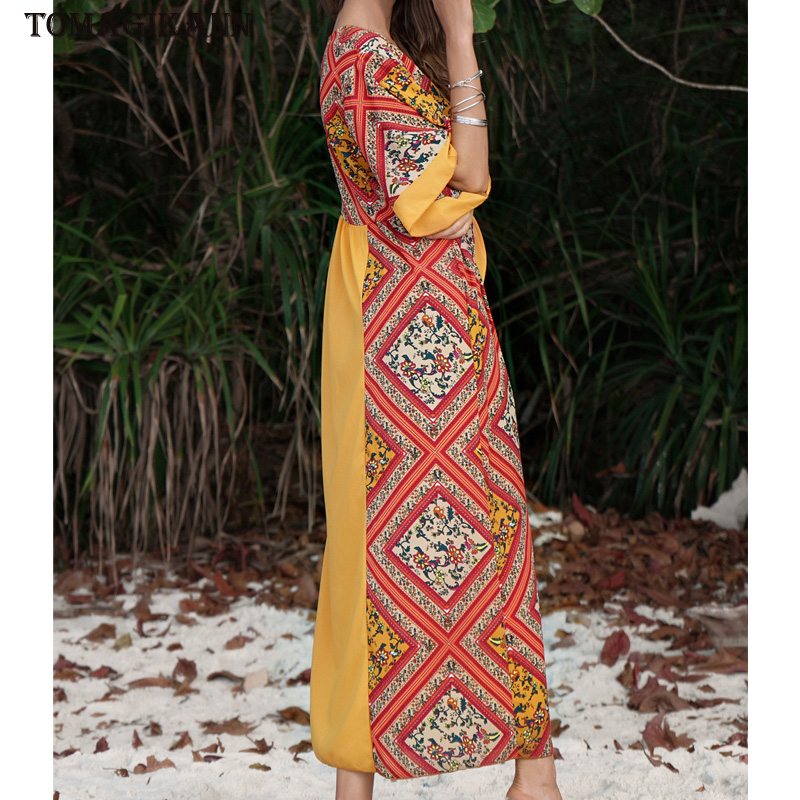 2019 Spring Print Patchwork Women Midi Dresses Single Breasted V Neck Half Sleeve Holiday Sundress Elegant Beach Desses Vestidos in Dresses from Women 39 s Clothing