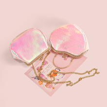 2017 New Arrival Laser Bag Pink Heart Summer PU Leather Chain Mini Metal Frame  Crossbody Girl School Shoulder Tote Shell Bags