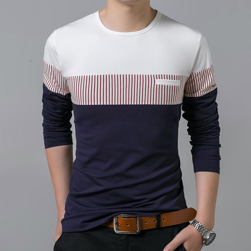 1e5e23c0e44 2019 algodón mercerizado nueva marca de moda camisetas ropa para hombre  ropa ajustada Streetwear Tops tendencias de manga larga Camiseta coreana para  hombre