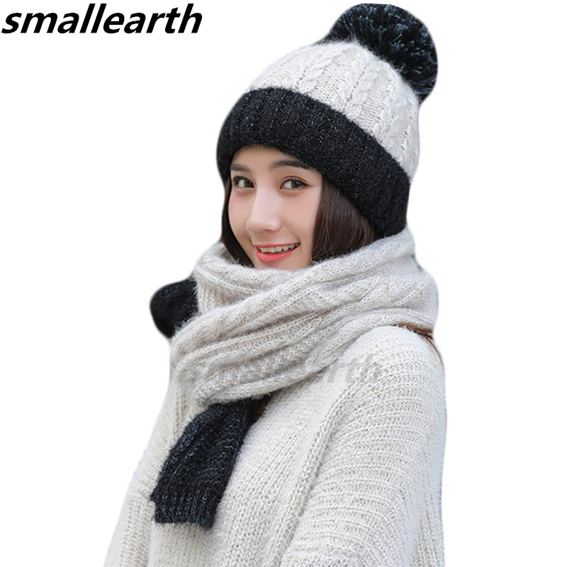 2019 Winter Women Knitted Hat Scarf 2Pcs Set Fashion Wool Thick Hat Collars Female Warm Hat Long Scarf Set Cute Snow Cap Beanies