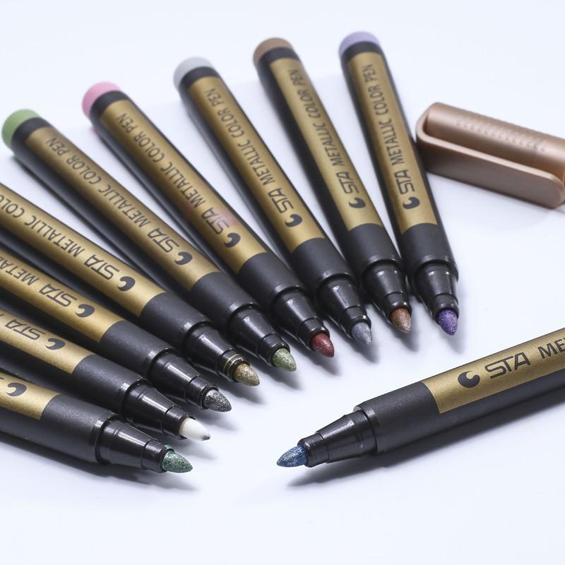 Sta8151 Metalic Colorful Marker Pen Paint High Light Diy Graffiti Fluorescent Pens Creative Office Stationery School Supplies