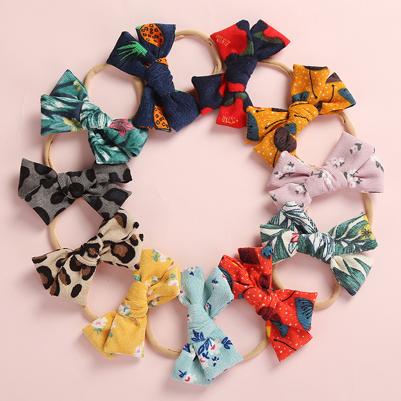 "36pc/lot New 4"" Floral Print Hair Bow Headbands,Kids Girls Animal Leopard Print Nylon Headband,Elastic Headband Hair Accessories"