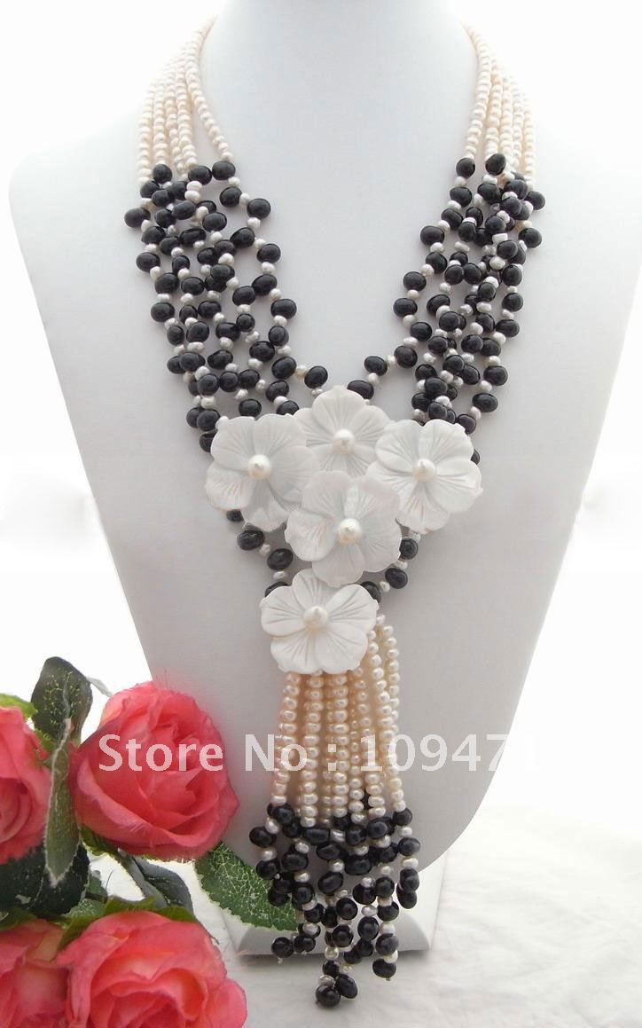5strds жемчуг и натуральная основа, цветок, Цепочки и ожерелья