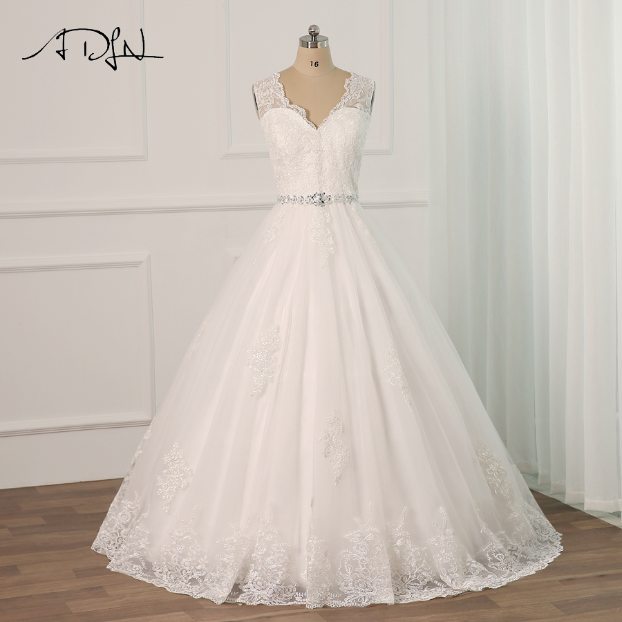 ADLN Sexy Lace Applique Wedding Dresses Plus Size Floor Length Tulle Beading Belt A line Wedding