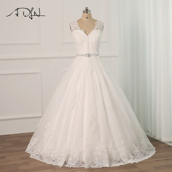 ADLN Elegant Lace Applique Wedding Dresses Plus Size Floor Length Tulle Beading Belt A-line Wedding Gowns Vestido De Novia