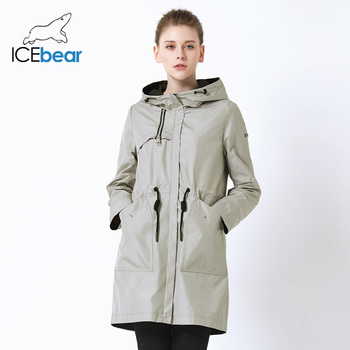 ICEbear 2019 autumn new ladies windbreaker hooded ladies jacket fashion casual women's clothing loose long clothing GWF19023I 1