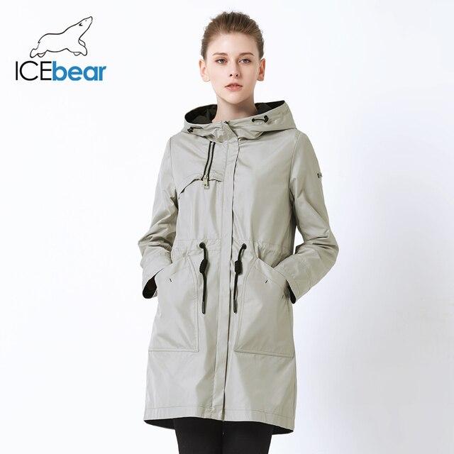 ICEbear 2019 autumn new ladies windbreaker hooded ladies jacket fashion casual women's clothing loose long clothing GWF19023I 1