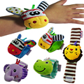 Toy for Baby 0-12 Bed Bell Baby Toy Rattle toys 17CM Plush Animal Model Wrist Rattle Watch Baby Educational Toy