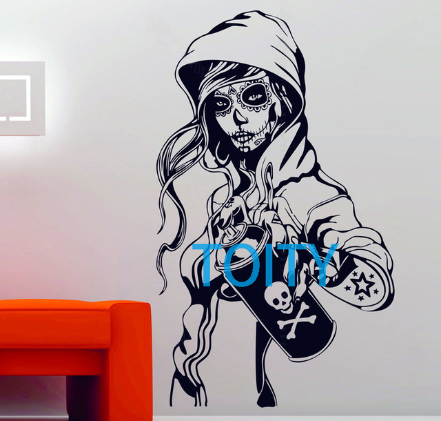 83f24dde3ad7f Candy Sugar Skull Graffiti Girl Tattoo Decor Vinyl Wall Sticker Decal  Rockabilly H98cm x W57cm