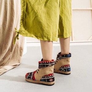Image 5 - Veowalk Botines de lino y algodón con bordado Harajuku para mujer, alpargatas planas cómodas con cordones, estilo vegano