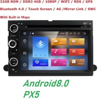 Android 8.0 4GB RAM Fit Ford F150 F250/350/Edge/Fusion/Mustang in Dash DVD Player GPS Navigation Stereo Radio BT Steering Wheel