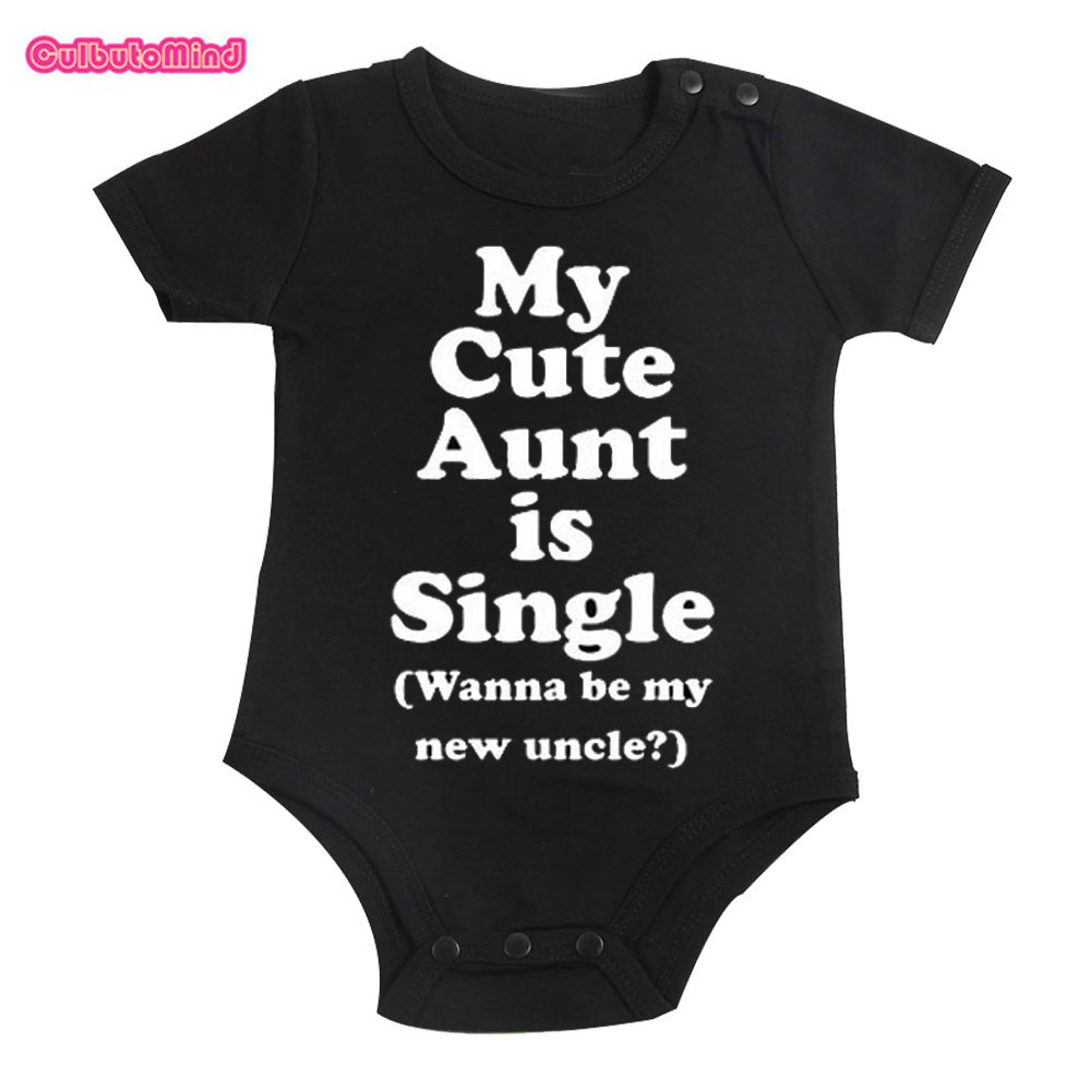 Culbutomind Cotton Cute My Aunt Baby Clothes Short Sleeved One-piece black bodysuit Boys and Girls 0-12M infant baby Shower Gift cute kids baby girls embroidered my little black letter bow bodysuit jumpsuits