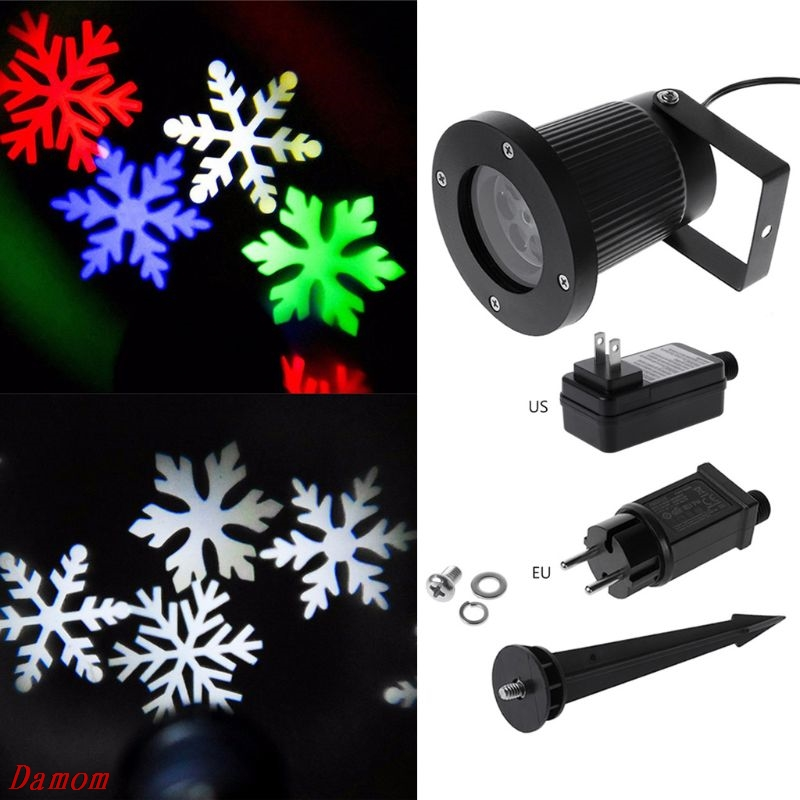 Waterproof LED Stage Light Christmas Snowflake Laser Pattern Projection Lamp