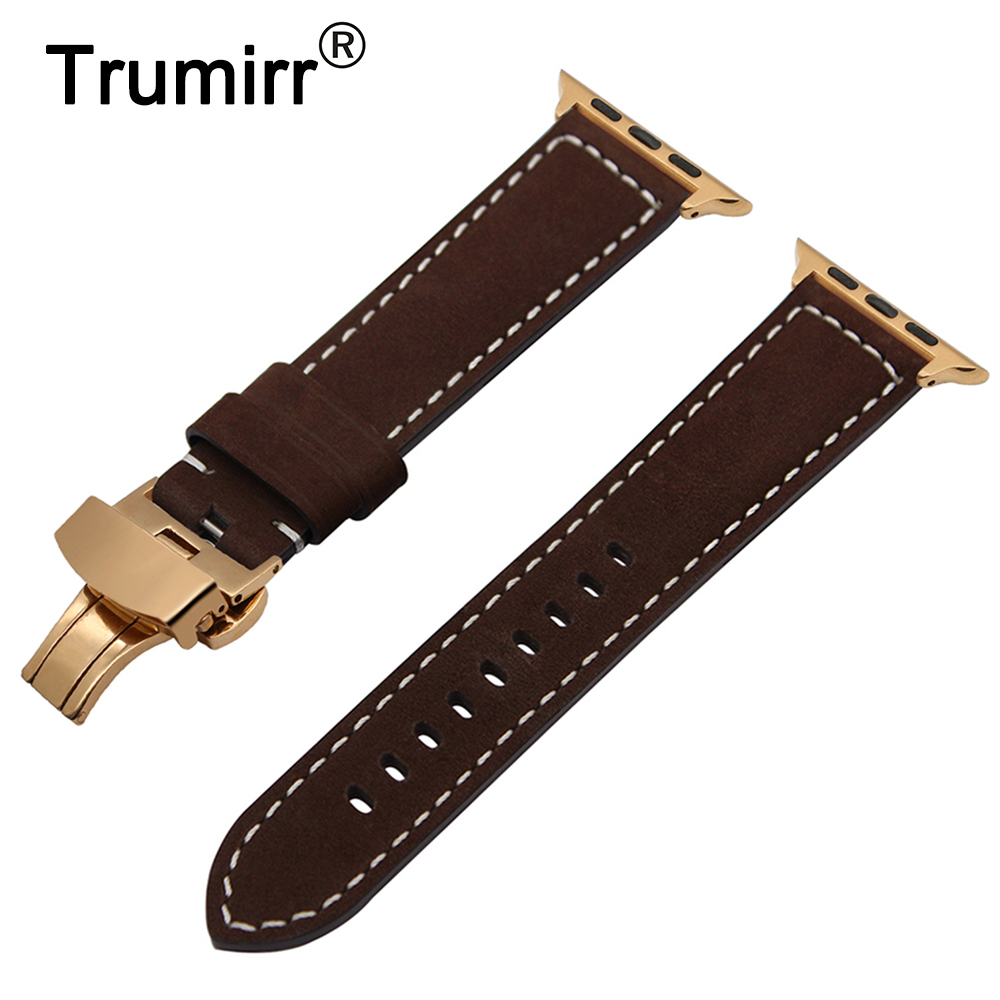 Italian Genuine Leather Watchband for iWatch Apple Watch 38mm 40mm 42mm 44mm Series 4 3 2 1 Band Steel Butterfly Buckle Strap цена