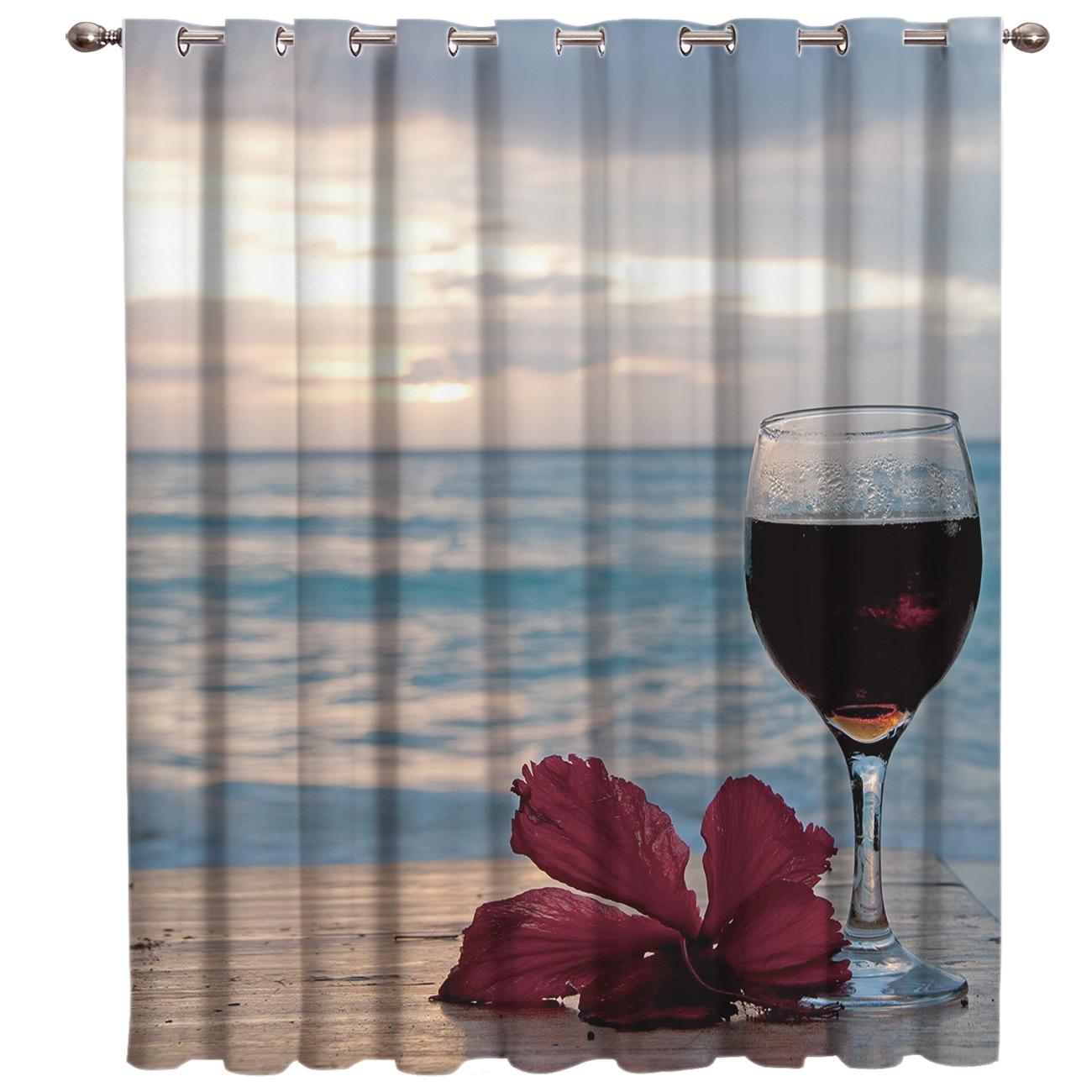 Wine Beach Flowers And Sunrise Window Treatments Curtains Valance Living Room Bathroom Bedroom Indoor Decor Window Treatment